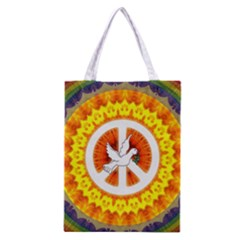 Psychedelic Peace Dove Mandala All Over Print Classic Tote Bag