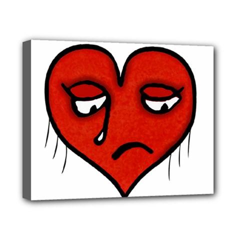 Sad Heart Canvas 10  X 8  (framed)