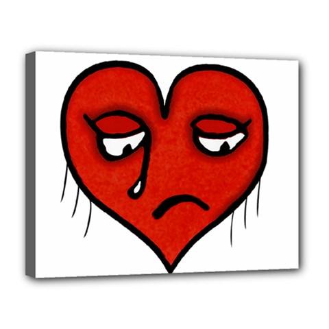 Sad Heart Canvas 14  X 11  (framed)