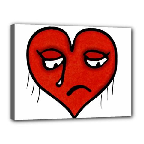 Sad Heart Canvas 16  x 12  (Framed)