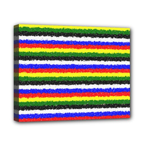 Horizontal Basic Colors Curly Stripes Canvas 10  X 8  (framed)
