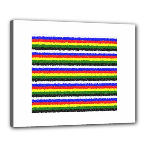 Horizontal Basic Colors Curly Stripes Canvas 20  x 16  (Framed)