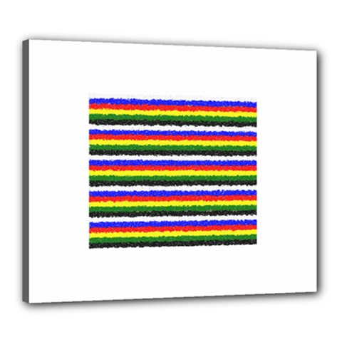Horizontal Basic Colors Curly Stripes Canvas 24  X 20  (framed)