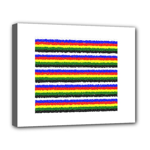 Horizontal Basic Colors Curly Stripes Deluxe Canvas 20  x 16  (Framed)