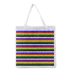 Horizontal Basic Colors Curly Stripes All Over Print Grocery Tote Bag