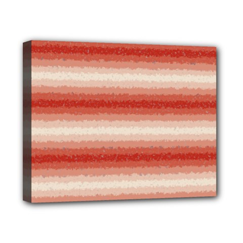 Horizontal Red Curly Stripes Canvas 10  X 8  (framed)