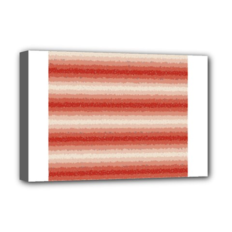 Horizontal Red Curly Stripes Deluxe Canvas 18  X 12  (framed)