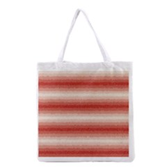 Horizontal Red Curly Stripes All Over Print Grocery Tote Bag