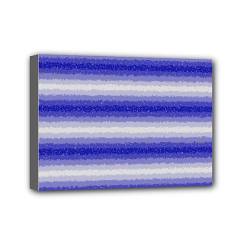 Horizontal Dark Blue Curly Stripes Mini Canvas 7  X 5  (framed)