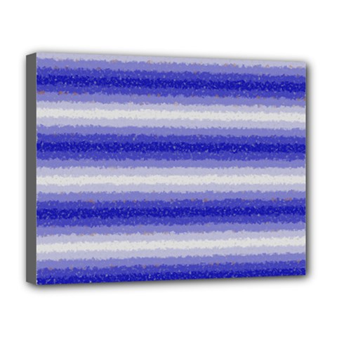 Horizontal Dark Blue Curly Stripes Canvas 14  x 11  (Framed)