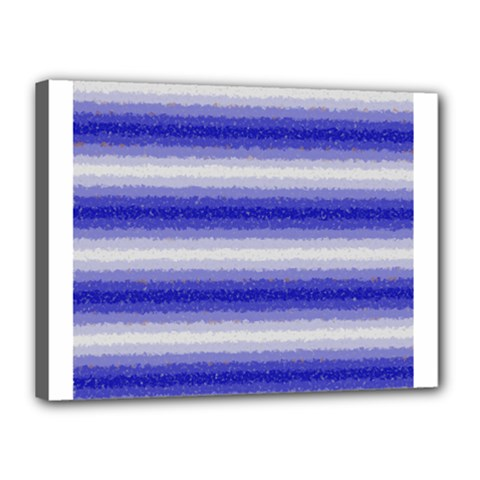 Horizontal Dark Blue Curly Stripes Canvas 16  x 12  (Framed)