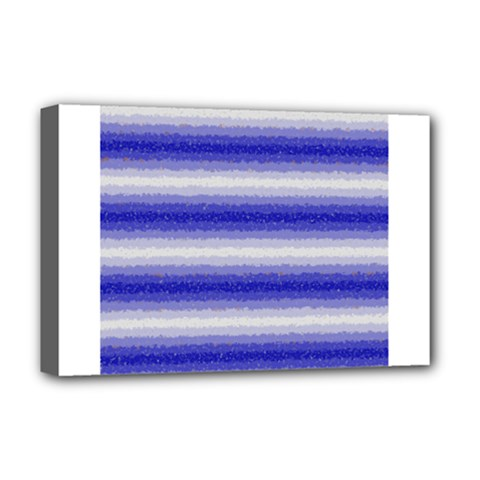 Horizontal Dark Blue Curly Stripes Deluxe Canvas 18  X 12  (framed)