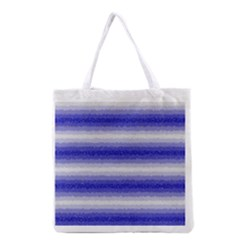 Horizontal Dark Blue Curly Stripes All Over Print Grocery Tote Bag