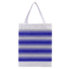 Horizontal Dark Blue Curly Stripes All Over Print Classic Tote Bag