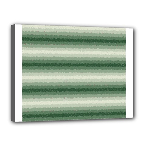 Horizontal Dark Green Curly Stripes Canvas 16  X 12  (framed)