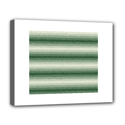 Horizontal Dark Green Curly Stripes Deluxe Canvas 20  X 16  (framed)