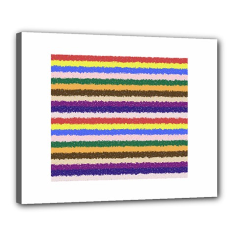 Horizontal Vivid Colors Curly Stripes   1 Canvas 20  X 16  (framed)