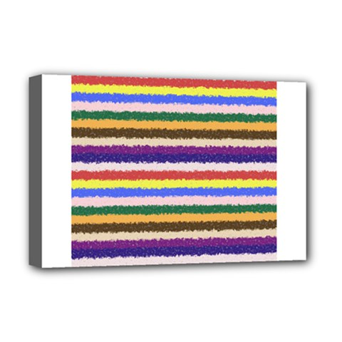 Horizontal Vivid Colors Curly Stripes - 1 Deluxe Canvas 18  x 12  (Framed)