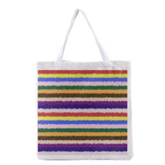Horizontal Vivid Colors Curly Stripes   1 All Over Print Grocery Tote Bag