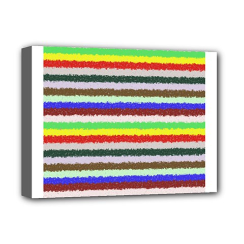Horizontal Vivid Colors Curly Stripes   2 Deluxe Canvas 16  X 12  (framed)
