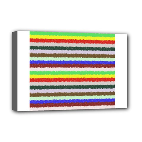 Horizontal Vivid Colors Curly Stripes   2 Deluxe Canvas 18  X 12  (framed)