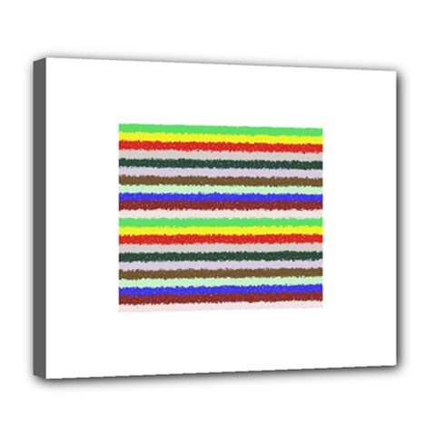 Horizontal Vivid Colors Curly Stripes   2 Deluxe Canvas 24  X 20  (framed)