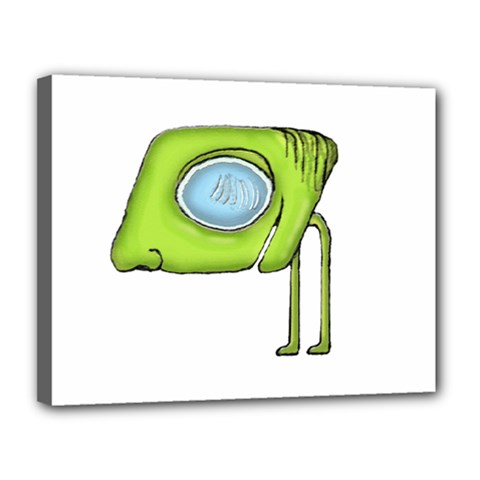 Funny Alien Monster Character Canvas 14  X 11  (framed)