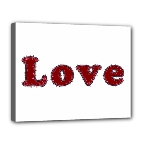 Love Typography Text Word Canvas 14  X 11  (framed)