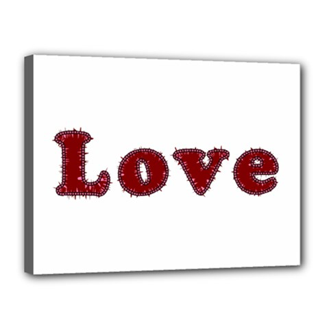 Love Typography Text Word Canvas 16  X 12  (framed)