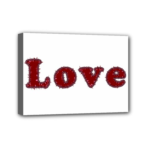 Love Typography Text Word Mini Canvas 7  X 5  (framed)