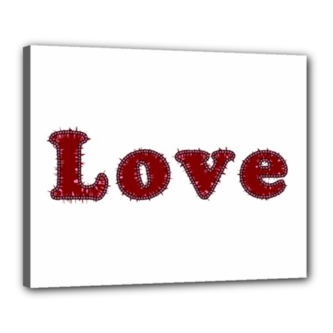 Love Typography Text Word Canvas 20  X 16  (framed)