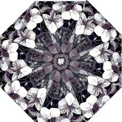 Black White Orchid trim stipr hr Folding Umbrella