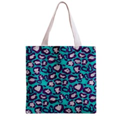 Turquoise Cheetah All Over Print Grocery Tote Bag