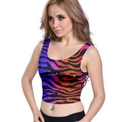 Rainbow Zebra  All Over Print Crop Top