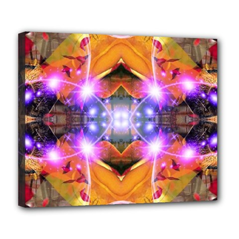 Abstract Flower Deluxe Canvas 24  X 20  (framed)