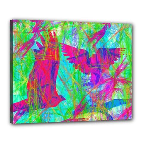 Birds In Flight Canvas 20  X 16  (framed)