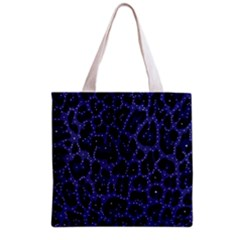 Blue Leapord Bling All Over Print Grocery Tote Bag