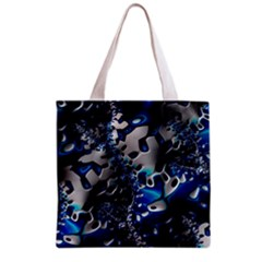 Glossy Blue Fractal  All Over Print Grocery Tote Bag