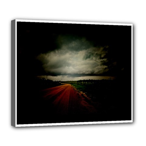Dark Empty Road Deluxe Canvas 24  X 20  (framed)