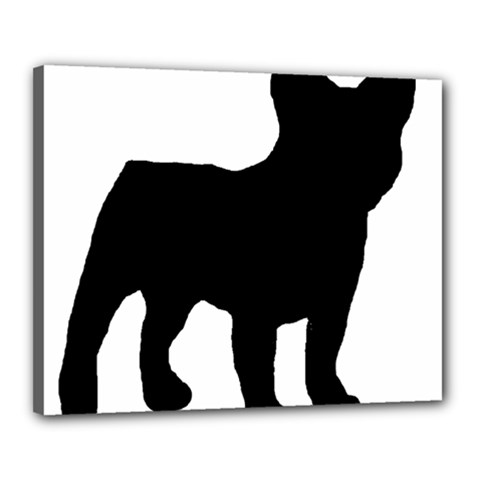 French Bulldog Silo Black Ls Canvas 20  x 16  (Framed)
