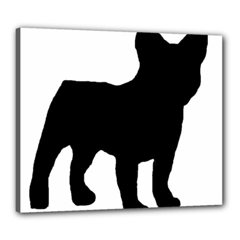 French Bulldog Silo Black Ls Canvas 24  x 20  (Framed)