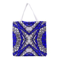 Flashy Bling Blue Silver  All Over Print Grocery Tote Bag