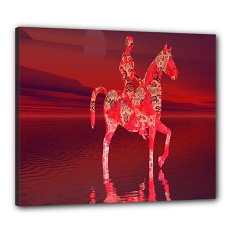 Riding At Dusk Canvas 24  X 20  (framed)