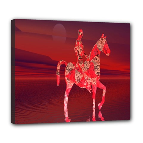 Riding At Dusk Deluxe Canvas 24  x 20  (Framed)