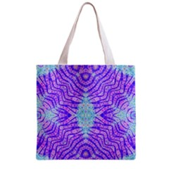 Turquoise Purple Zebra Pattern  All Over Print Grocery Tote Bag