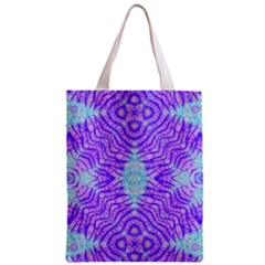 Turquoise Purple Zebra Pattern  All Over Print Classic Tote Bag