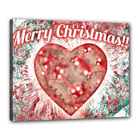 Vintage Colorful Merry Christmas Design Canvas 20  X 16  (framed)