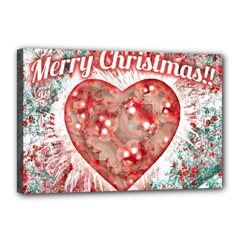 Vintage Colorful Merry Christmas Design Canvas 18  X 12  (framed)