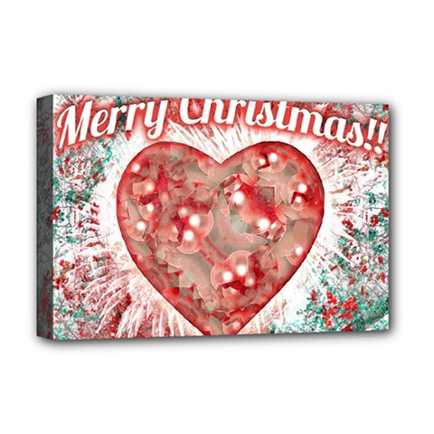 Vintage Colorful Merry Christmas Design Deluxe Canvas 18  X 12  (framed)