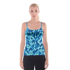 Blue Tiles All Over Print Spaghetti Strap Top